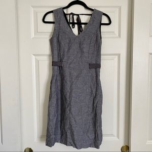 Banana Republic Gray Linen Ribbon Dress Size 2